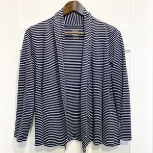 LL Bean Supima Cotton Striped Open Jersey Cardigan